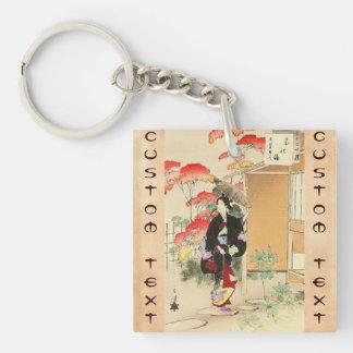 36 Examples of Beauties, Tea ceremony Toshikata Double-Sided Square Acrylic Key Ring