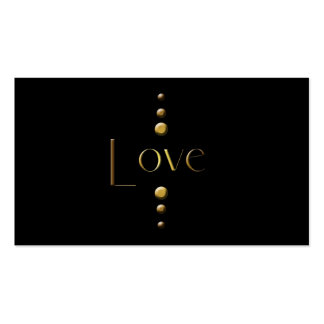 3 Dot Gold Block Love & Black Background Pack Of Standard Business Cards