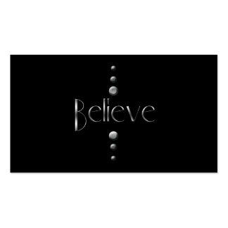 3 Dot Silver Block Believe & Black Background Pack Of Standard Business Cards
