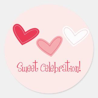3 Heart Sweet Celebration Round Sticker