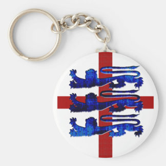 3 lions England St George's flag gifts Basic Round Button Key Ring