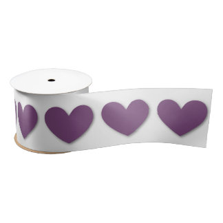 3D Look Hearts in PURPLE with WHITE Background V05 Satin Ribbon