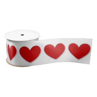 3D Look Hearts in RED with Custom Background V01 Satin Ribbon
