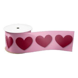 3D Look Hearts in RED with PINK Background V06 Satin Ribbon