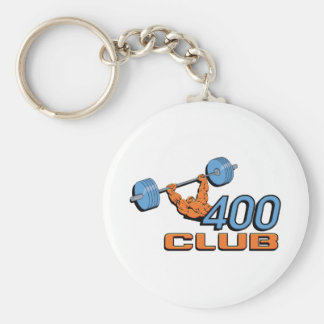400 Club Weightlifting Basic Round Button Key Ring