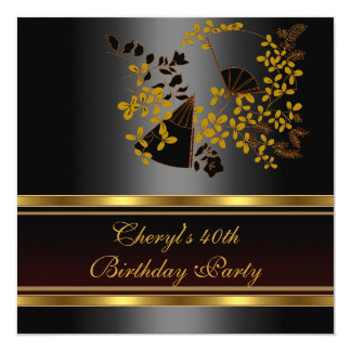 40th Birthday Party Floral Black Gold pattern 13 Cm X 13 Cm Square Invitation Card