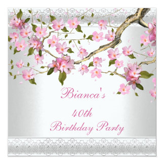 40th Birthday Party White Pink Blossoms floral 13 Cm X 13 Cm Square Invitation Card