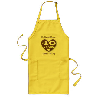 40th Birthday Still Cooking Double Hearts 40Z Long Apron
