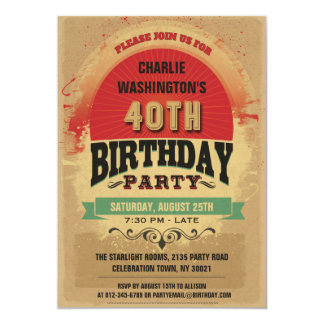 40th Birthday Vintage Typography Grunge 13 Cm X 18 Cm Invitation Card