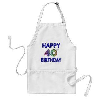 40th Birthday with Ballon Font Standard Apron