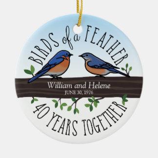 40th Wedding Anniversary, Bluebirds of a Feather Round Ceramic Decoration