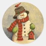 4905 Snowman & Birdhouse Christmas Round Sticker