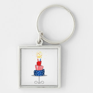 4th July Celebration Cake in Red, White and Blue Silver-Colored Square Key Ring