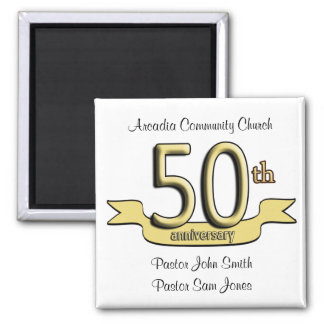 50th Anniversary Party Favors Square Magnet