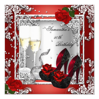 50th Birthday Party Red Rose Silver 13 Cm X 13 Cm Square Invitation Card