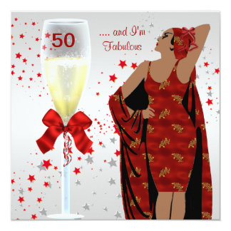 50th Birthday Party Retro Diva Art deco Red White 13 Cm X 13 Cm Square Invitation Card