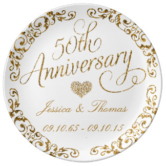 50th Golden Wedding Anniversary Decorative Plate Porcelain Plates