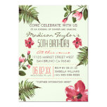 50th Party Exotic Hibiscus & Tropical Palm Leaves 13 Cm X 18 Cm Invitation Card