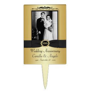 50th Wedding Anniversary Cake Pick with Photo