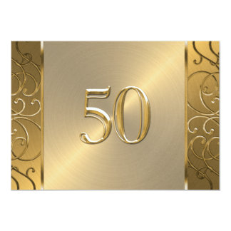 50th Wedding Anniversary Gold Filigree Swirls 13 Cm X 18 Cm Invitation Card