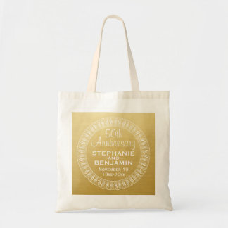 50th Wedding Anniversary Personalized gold Budget Tote Bag