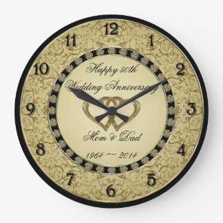 50th Wedding Anniversary Wall Clock