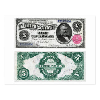 $5 Banknote Silver Certificate Series 1891 Postcard