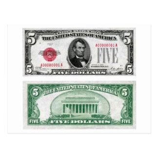 $5 Dollar Legal Tender Banknote Series 1928 Postcard