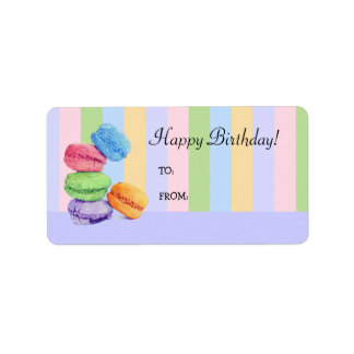5 Macaroons stripes Birthday Gift Tag Label Address Label
