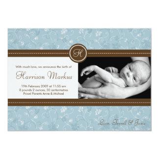 5x7 Baby Boy Blue Floral Photo Birth Announcement