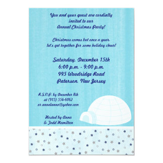 5x7 Icy Igloo Baby Blue Invitation