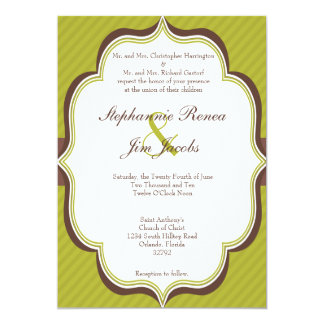 5x7 Wedding Invitation Green Brown Modern Stripe