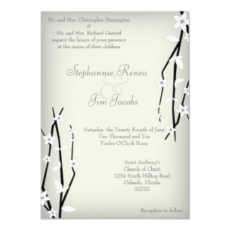 5x7 Wedding Invitation Winter Blossom Flower Branc