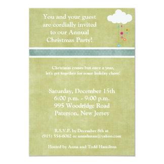 5x7 Winter Cloud with Ornaments  Invitation
