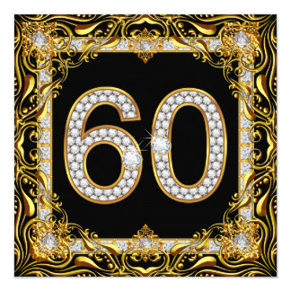 60 Gold Diamond Black 60th Birthday Party 13 Cm X 13 Cm Square Invitation Card