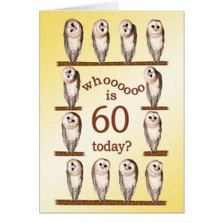 60th birthday, Curious owls card. Greeting Card