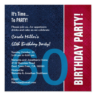 60th Birthday Modern Red Blue White Metallic v8 13 Cm X 13 Cm Square Invitation Card
