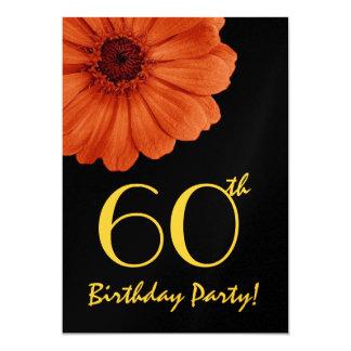 60th Birthday Orange Gold Black Daisy Metallic 13 Cm X 18 Cm Invitation Card