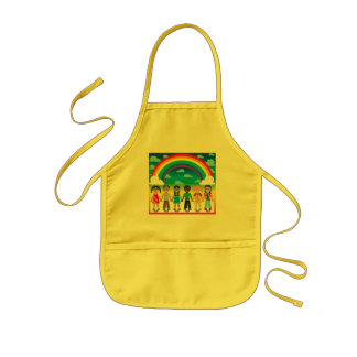 6 happy kids under a rainbow with a colorful backg kids apron