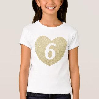 6th Birthday Girl Glitter heart Personalized Tshirt