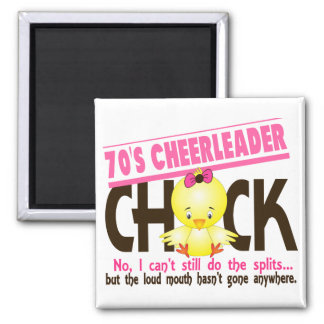 70's Cheerleader Chick Square Magnet