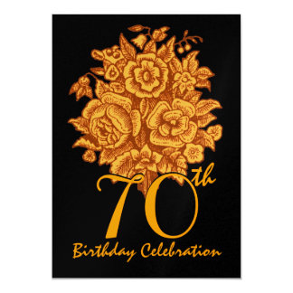 70th Birthday Party Invitation Gold Roses