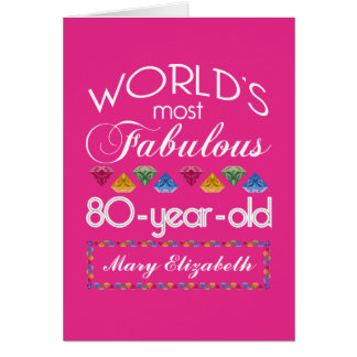 80th Birthday Most Fabulous Colorful Gems Pink Greeting Card