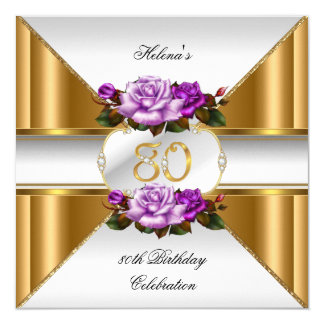 80th Birthday Party Elegant Purple Gold Roses B 13 Cm X 13 Cm Square Invitation Card