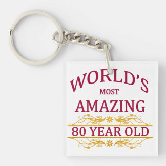 80th. Birthday Single-Sided Square Acrylic Key Ring
