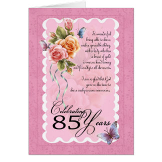 85th birthday greeting card - roses and butterfly