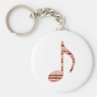 8th Note Candy Cane or Peppermint Basic Round Button Key Ring