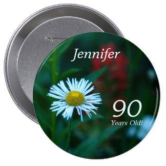 90 Years Old, White Daisy WildFlower Button Pin