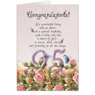 95th birthday card with butterflies and roses - co
