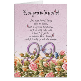 99th birthday card with butterflies and roses - co